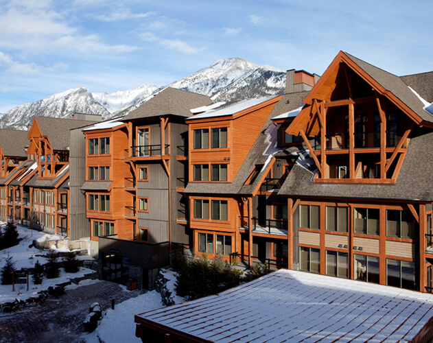 Canmore Resort<abbr>Canmore, Alberta, Canada<br>Douglas fir solid timbers, siding and decking</abbr>