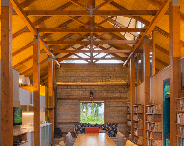 Interior of Private Villa<abbr> Himachal Pradesh<br>Douglas fir post and beams, spf table top</abbr>