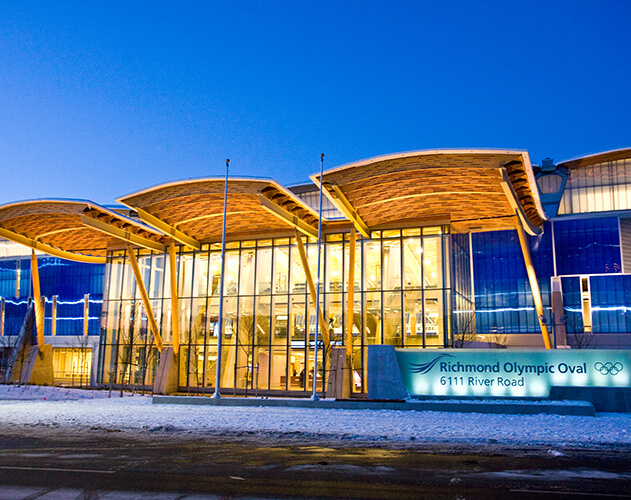 "Richmond Olympic Oval<abbr>Richmond, B.C. Canada<br>2 ""x 4"" spf commodity dimension lumber and Douglas fir plywood (prefabricated WoodWave roof), yellow cedar glulam posts</abbr>"