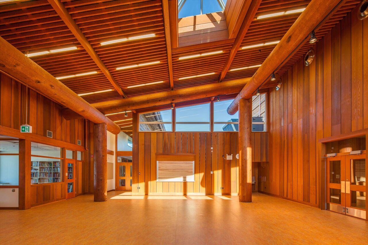 Kwakiutl Wagalus School<abbr>Port Hardy, B.C. Canada<br>Western red cedar posts, beams and wall planks, Douglas fir glulam purlins</abbr>
