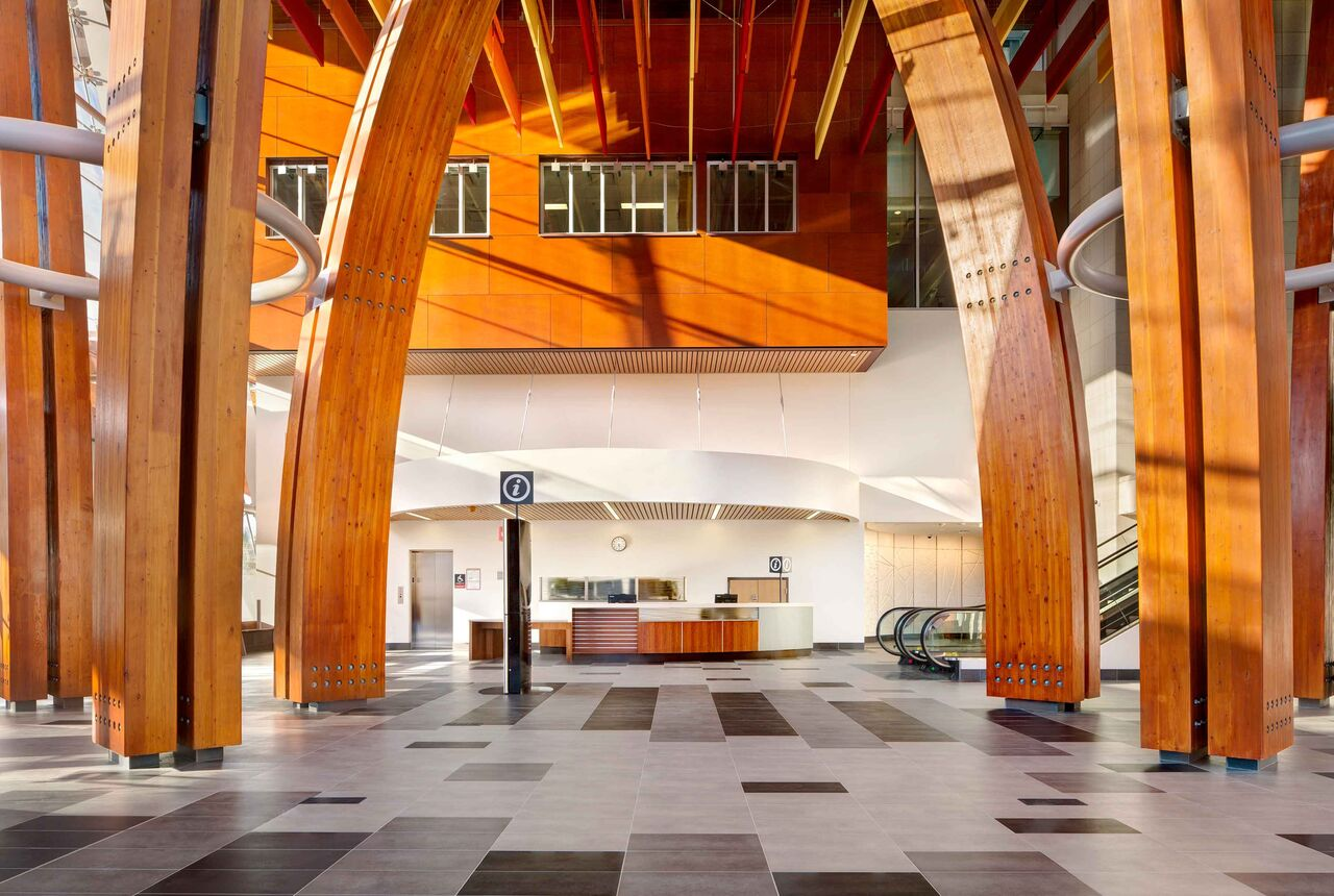 Surrey Memorial Hospital – Emergency Department and Critical Care Tower<abbr>Surrey, B.C. Canada<br>Glulam columns </abbr>
