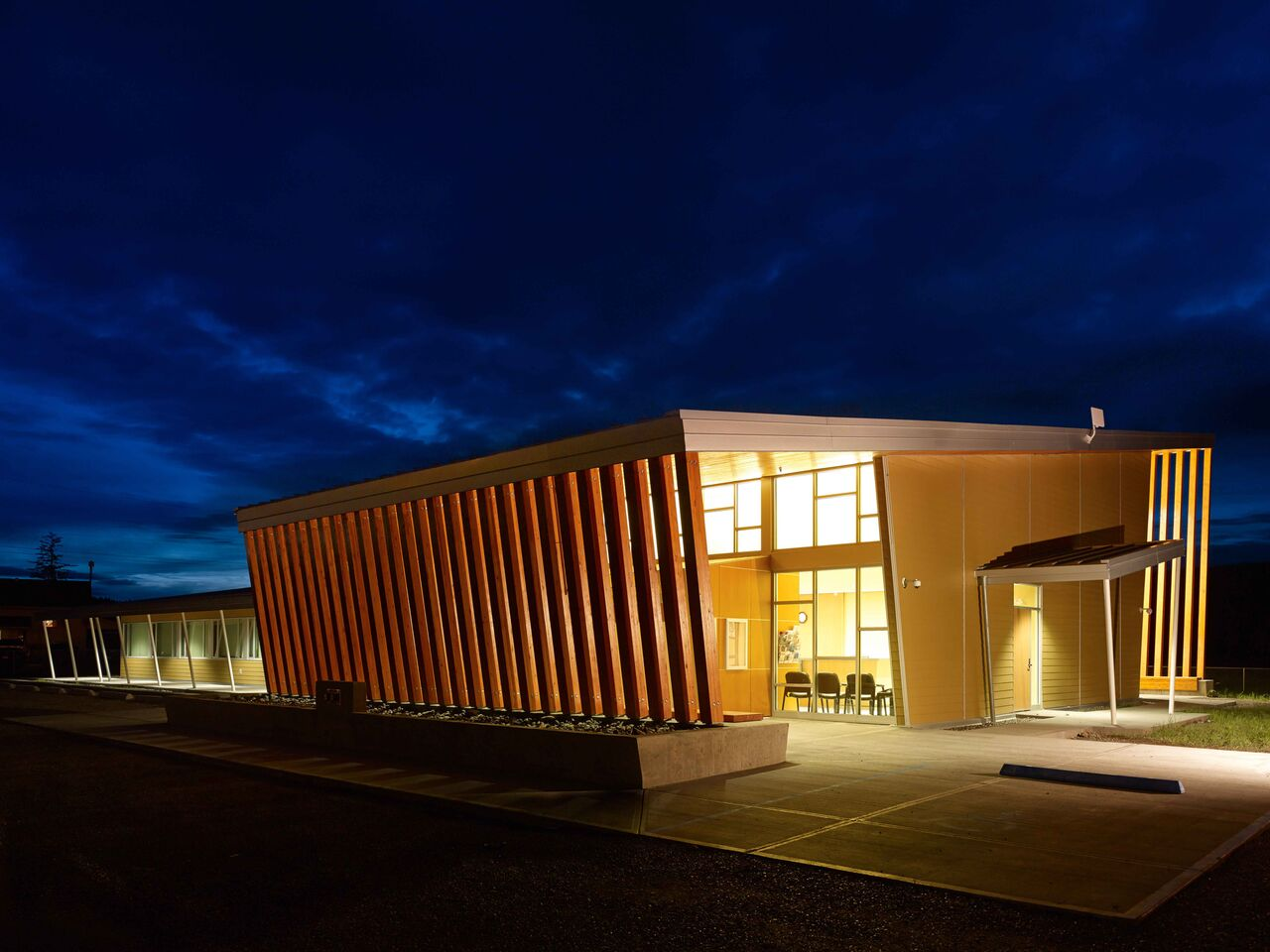 Yunesit'In Health Centre<abbr>Hanceville, B.C. Canada<br>Douglas fir glulam posts, tongue and groove boards</abbr>