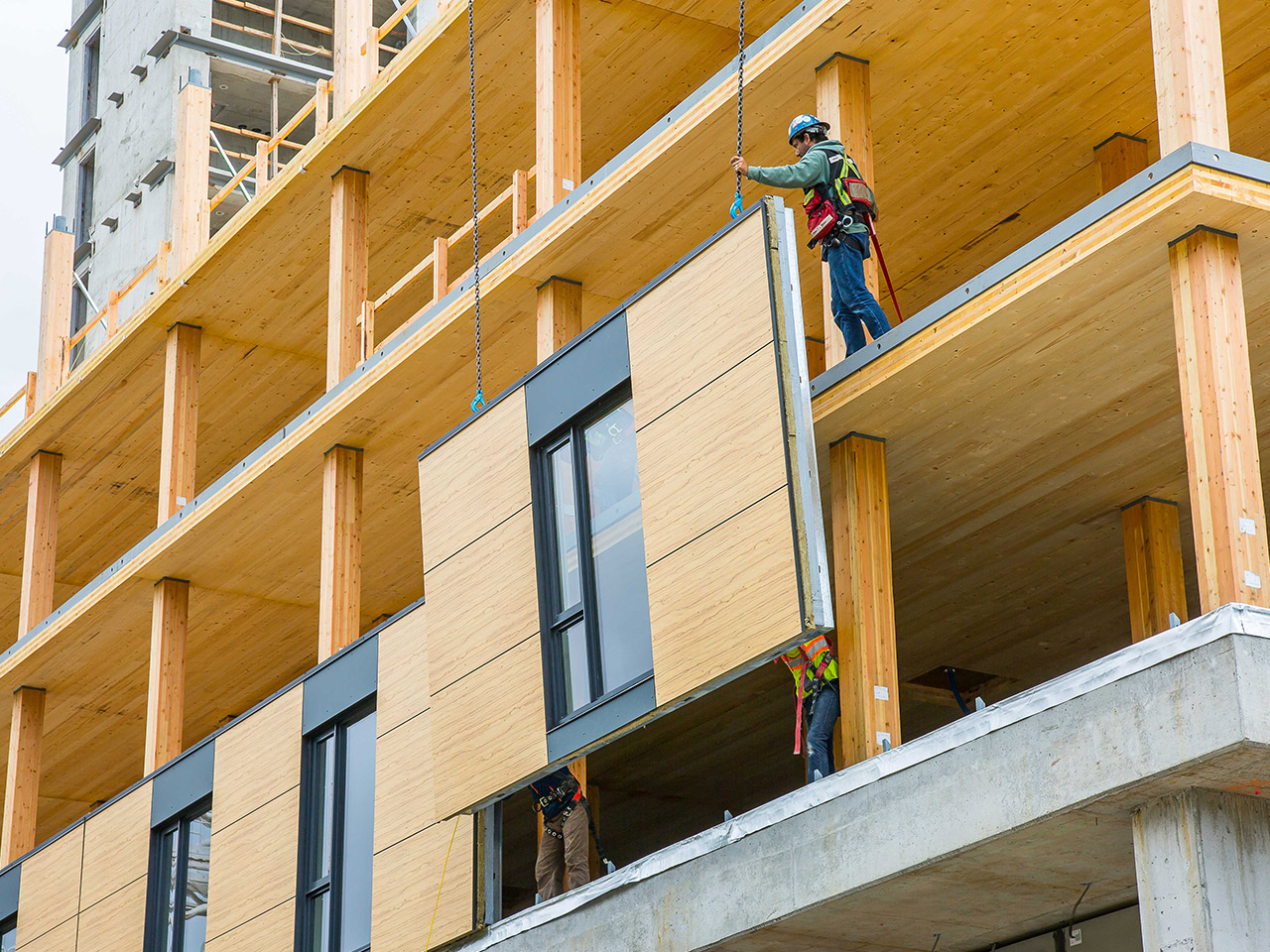 Brock Commons Tallwood House<abbr>Vancouver, B.C. Canada<br>Cross-laminated timber panels, glulam and parallel strand lumber columns</abbr>