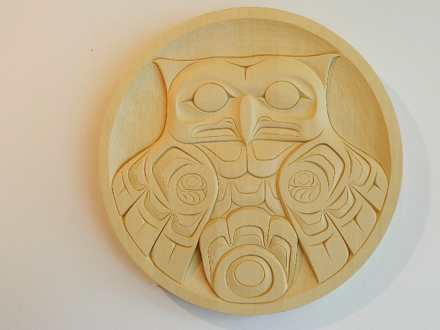 Yellow cedar carving owl