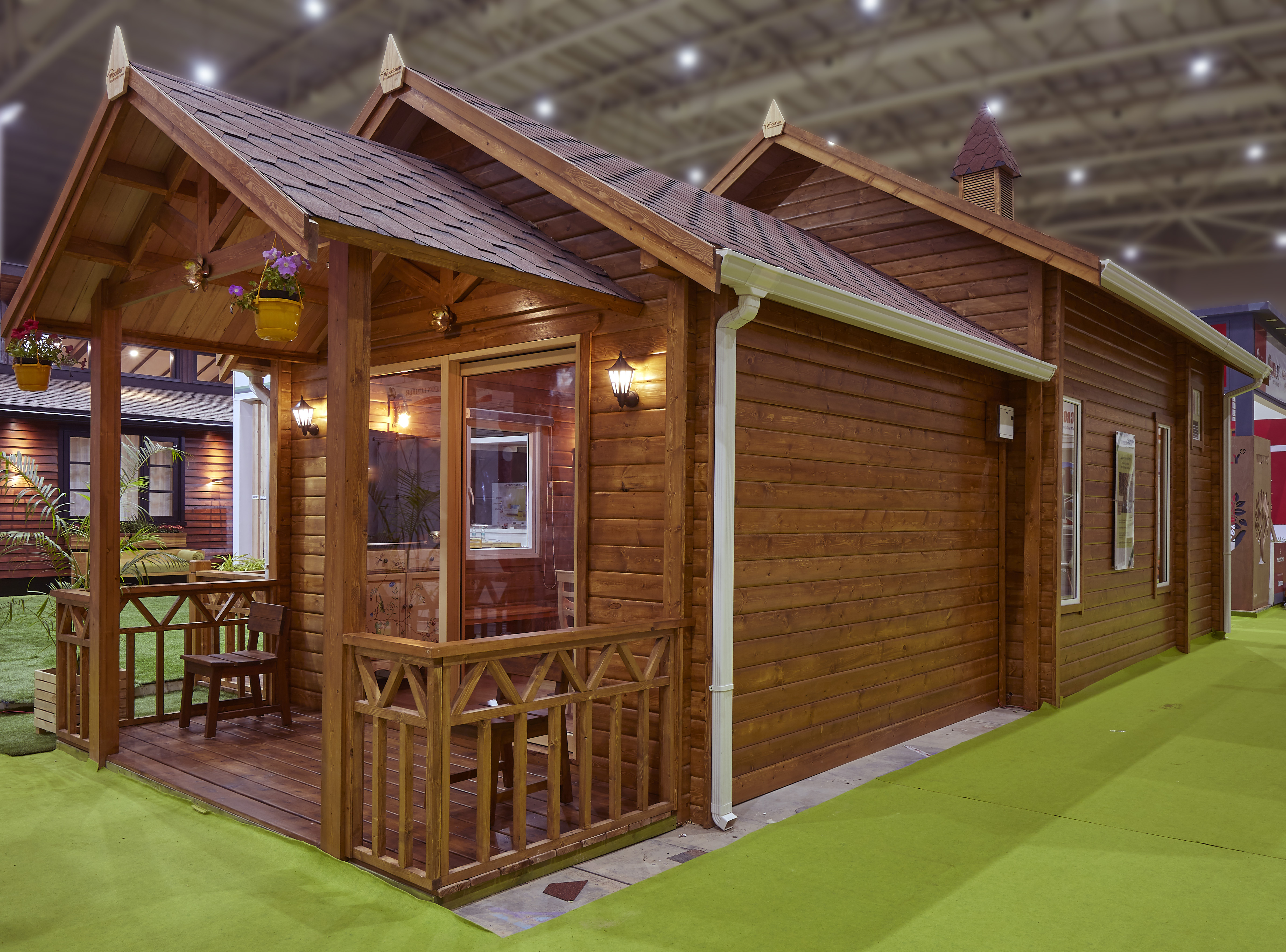 Laminated Tongue & Groove resort style cottage<abbr> India Wood exhibition 2020, Bengaluru<br>S-P-F used for structural purposes, western hemlock for furniture, yellow cedar for doors and windows.</abbr>