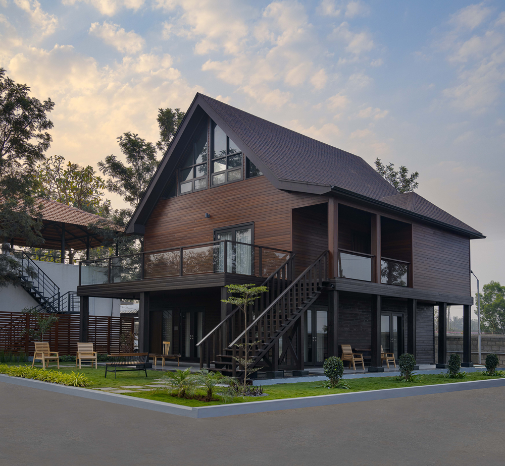 North American Style Wood Frame Construction<abbr> Mysuru, Karnataka<br>S-P-F used for structural purposes, western red cedar for cladding and decking.</abbr>
