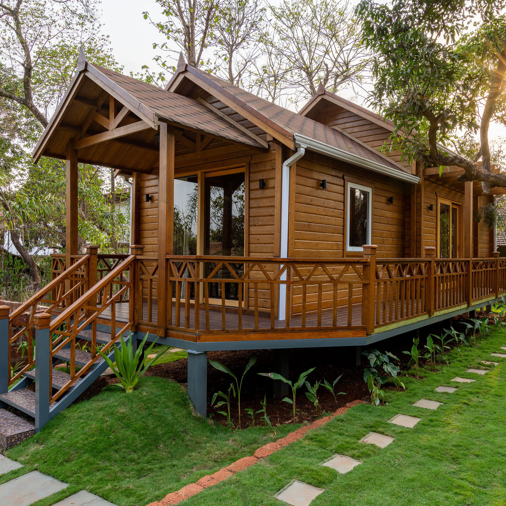Laminated Tongue & Groove resort style cottage<abbr> Goa<br>S-P-F used for structural purposes, western hemlock for furniture, yellow cedar for doors and windows. </abbr>