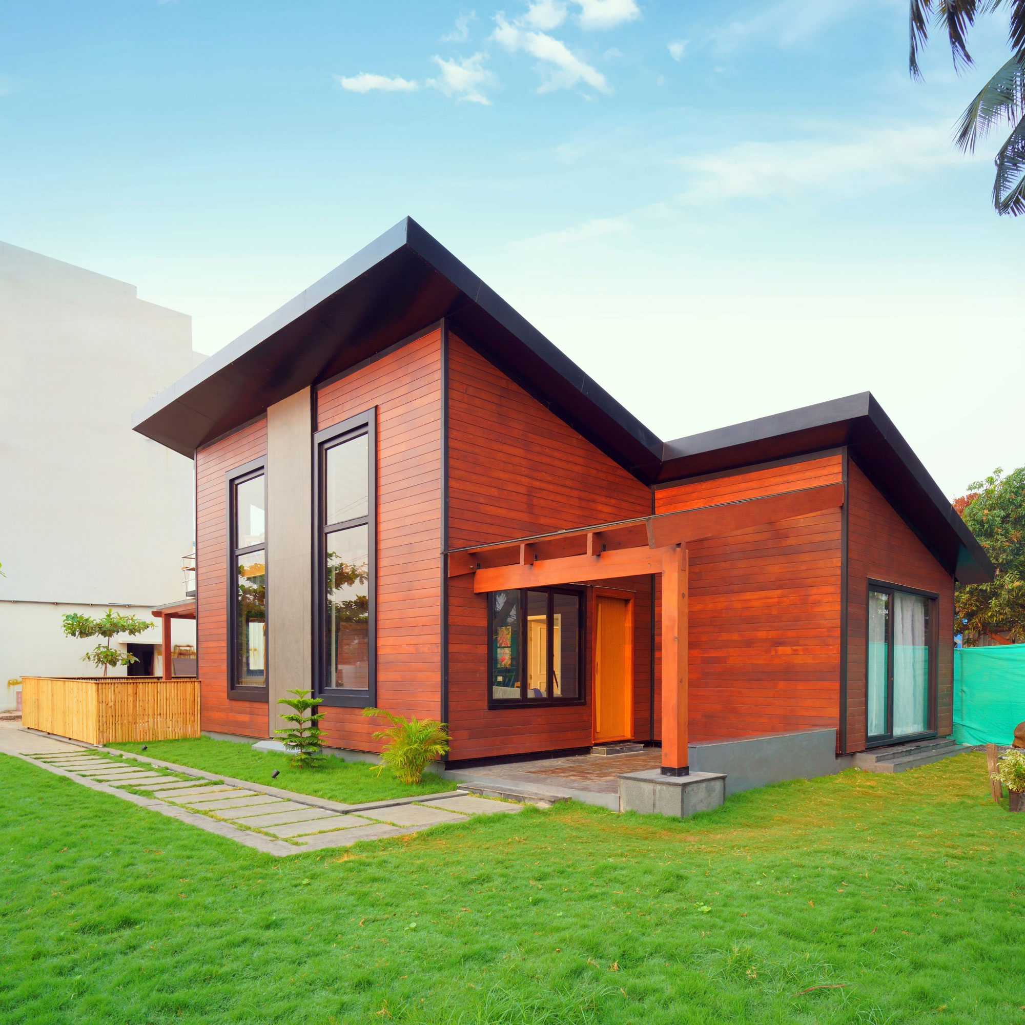 Wood Frame Construction single storey residential villa<abbr> Chennai<br>S-P-F used for framing purposes & western red cedar for cladding.</abbr>